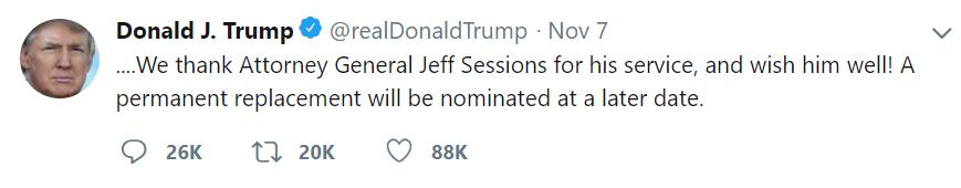Donald Trump đăng lên Twitter cá nhân thông báo sa thải Bộ trưởng Tư pháp