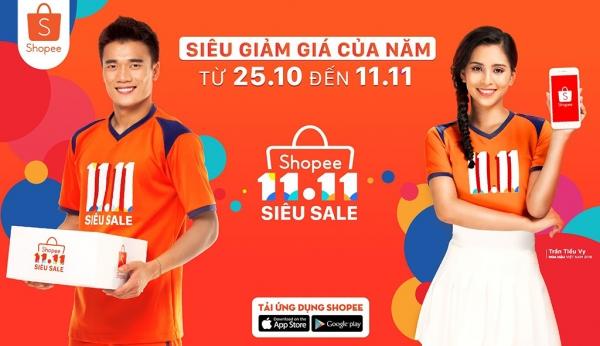 Hoa hậu Trần Tiểu Vy cùng các cầu thủ U23 Việt Nam là hình ảnh đại diện cho mùa Shopee Super Sale 2018
