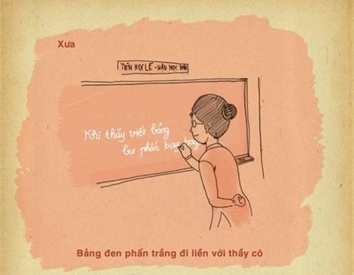Ngày xưa phấn trắng, bảng đen...