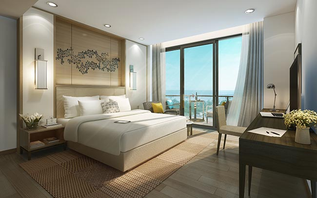 Phòng tại Intercontinental Phú Quốc được bố trí đẹp mắt và trang nhã