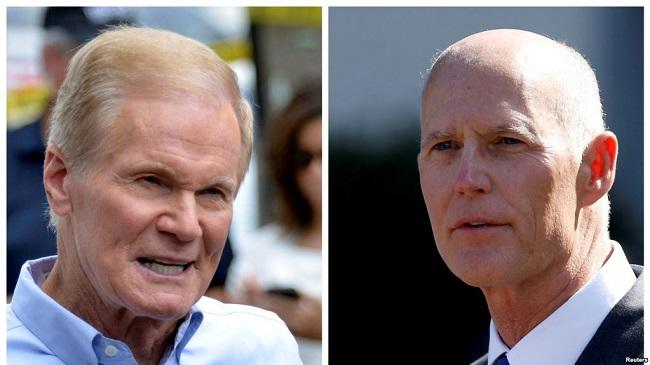 Thượng nghị sĩ Dân chủ Bill Nelson (trái) và Thống đốc Cộng hòa Rick Scott (phải