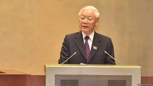 Tổng bí thư, Chủ tịch nước Nguyễn Phú Trọng đọc tờ trình về việc phê chuẩn Hiệp định CPTPP
