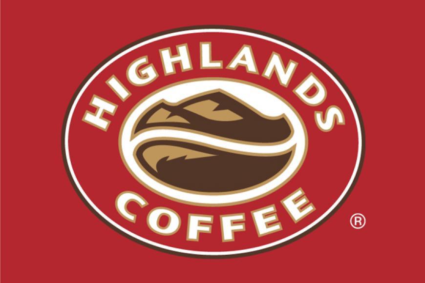 Logo của Highlands với màu đỏ chủ đạo