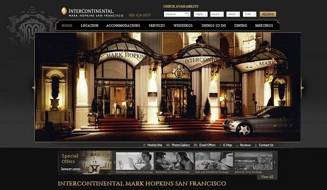 Website của Intercontinental nổi bật với hình ảnh hút mắt và màu sắc hài hòa; sang trọng