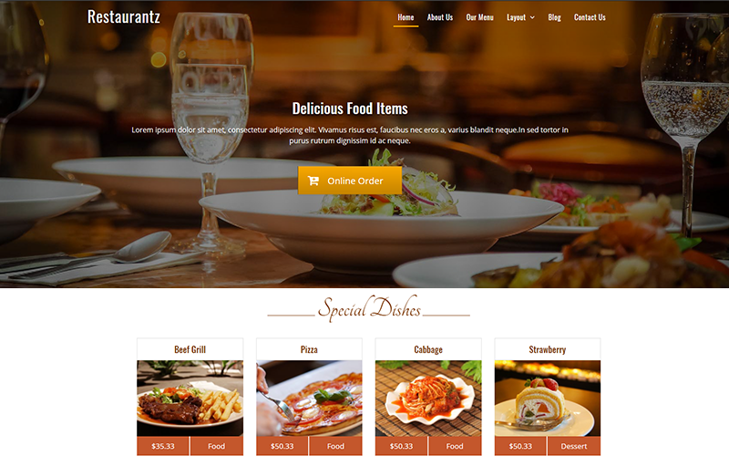 thiết kế website nhà hàng đẹp