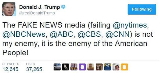 Donald Trump sử dụng Twitter như một kênh cá nhân nhằm công kích báo chí