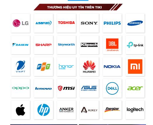 Những cái tên doanh nghiệp uy tín trên Tiki góp phần tăng mức độ tin tưởng của khách hàng lên trang thương mại điện tử này