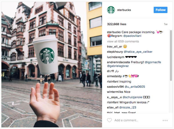 Quảng cáo của Stabucks trên Instagram