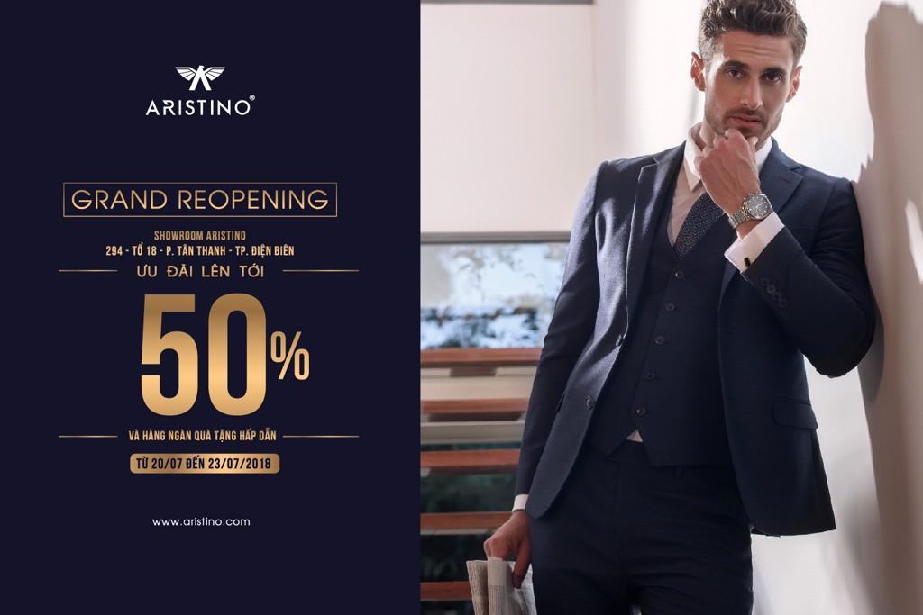 Hình ảnh của ARISTINO luôn được đính kèm logo đại bàng và tên thương hiệu rõ ràng