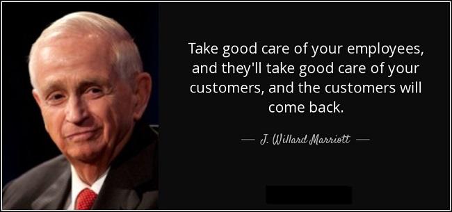 Thành công của Marriott một phần đến từ việc ông đánh giá đúng giá trị của nhân viên.