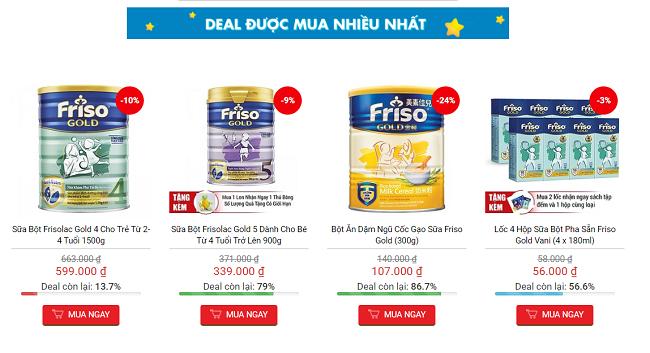 Sản phẩm sữa sale với giá tốt được các bà mẹ yêu mua sắm online tin dùng