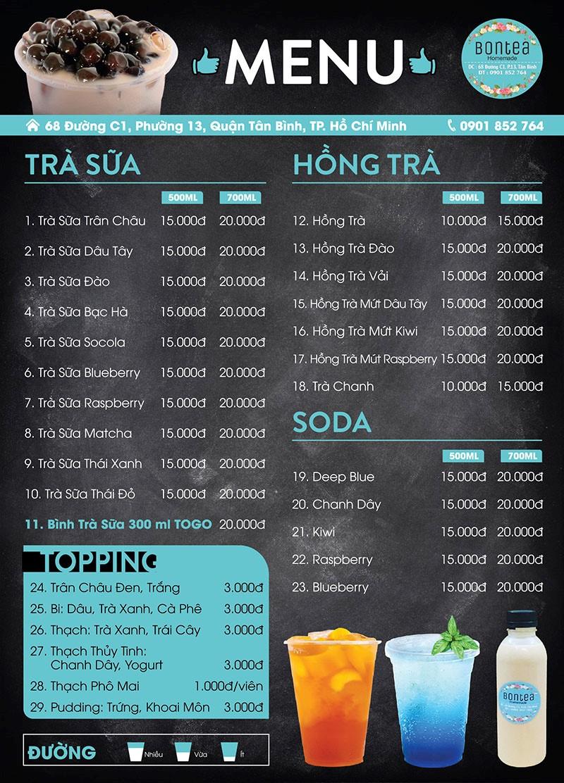 Thiết kế menu quán trà sữa
