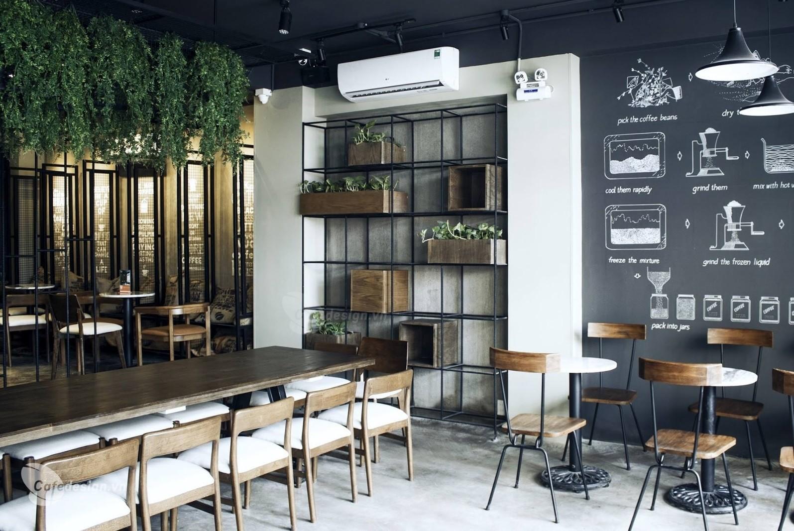 Quán cà phê trang trí theo phong cách hiện đại